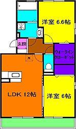 静岡県浜松市東区篠ケ瀬町の賃貸アパートの間取り