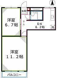 東京都国立市西2丁目の賃貸マンションの間取り