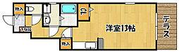 メルベーユ神戸 1階1Kの間取り