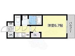 プロヴィスタ新大阪イーストゲート 5階1Kの間取り
