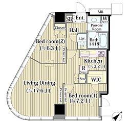 JR山手線 代々木駅 徒歩3分の賃貸マンション 11階2LDKの間取り
