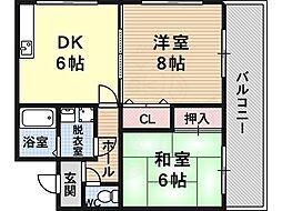 メゾンメイユール 3階2LDKの間取り