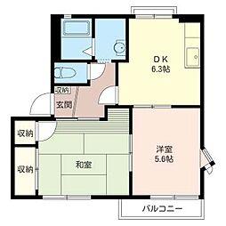ハイツ タカヤシキ A[1階]の間取り