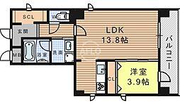 エグゼ真田山 8階1LDKの間取り
