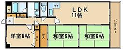 兵庫県伊丹市野間北1丁目の賃貸マンションの間取り