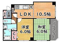 阪急神戸本線 六甲駅 徒歩25分の賃貸マンション 4階2LDKの間取り