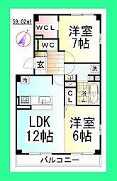 JHアンモード イグサ4[新築ペット可D-ROOM・駐車場1台付][3階]の間取り