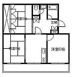 花ヶ島コーポ[2号室]の間取り