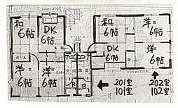 長野県安曇野市三郷温の賃貸アパートの間取り