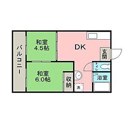 鶴寿荘 2階2DKの間取り