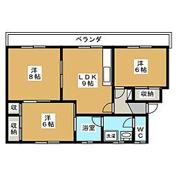シャガール桜川[1階]の間取り