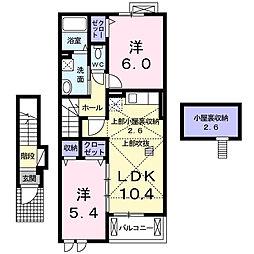 神奈川県厚木市愛甲3丁目の賃貸アパートの間取り