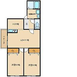 ロックガーデン2[1階]の間取り