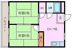津久野台マンション[4階]の間取り