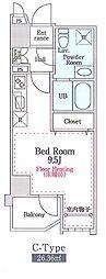 リヴィエール猿江公園 8階ワンルームの間取り