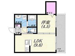 篠原北町PJ 2階1LDKの間取り