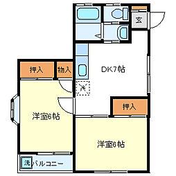 静岡県裾野市二ツ屋の賃貸アパートの間取り