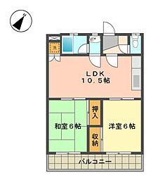 京和コーポ[2階]の間取り