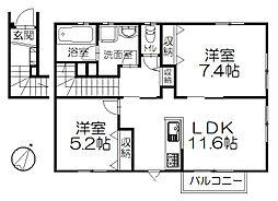 神奈川県藤沢市辻堂元町5丁目の賃貸アパートの間取り