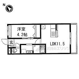 阪急京都本線 西京極駅 徒歩12分の賃貸マンション 1階1LDKの間取り