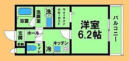 JR横浜線 橋本駅 徒歩10分の賃貸アパート 2階1Kの間取り