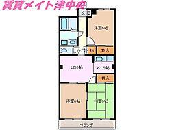 三重県津市桜田町の賃貸アパートの間取り