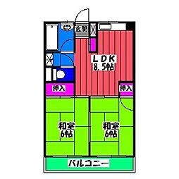 福岡県福岡市南区清水3丁目の賃貸マンションの間取り