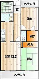 ホワイトキャッスル三萩野[4階]の間取り