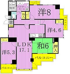 コスモ柏2[3階]の間取り