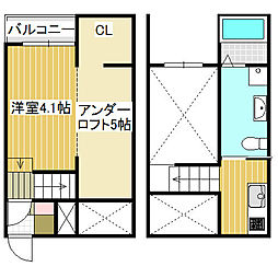 愛知県名古屋市中川区開平町2丁目の賃貸アパートの間取り