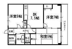 兵庫県伊丹市昆陽7丁目の賃貸マンションの間取り