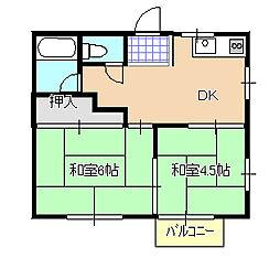 箱山ハイツB[202号室]の間取り