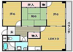 大阪府茨木市新中条町の賃貸マンションの間取り