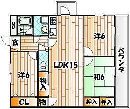 シャルム中井[8階]の間取り