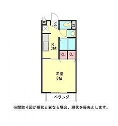 愛知県岩倉市東町東市場屋敷の賃貸アパートの間取り