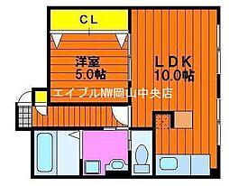 エスコ桑田町マンションII[2階]の間取り