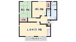 JR播但線 京口駅 徒歩7分の賃貸アパート 1階2LDKの間取り