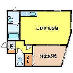 北海道札幌市北区北六条西7丁目の賃貸アパートの間取り