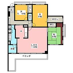 愛知県名古屋市天白区表山1丁目の賃貸マンションの間取り