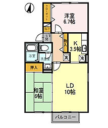 大阪府門真市五月田町の賃貸アパートの間取り
