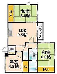 大阪府枚方市東香里南町の賃貸アパートの間取り
