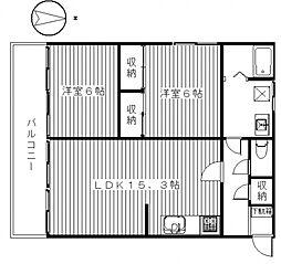 ビューハイツ講堂[105号室号室]の間取り