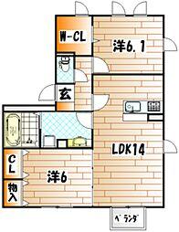 D-room横代北町II A棟[1階]の間取り