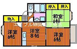 岡山県岡山市中区今在家丁目なしの賃貸アパートの間取り
