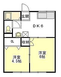 コーポ新町[1階]の間取り