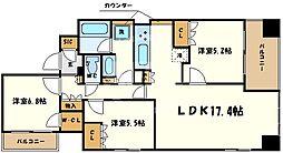 ローレルタワー心斎橋 13階3LDKの間取り