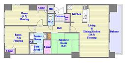 兵庫県神戸市須磨区離宮西町1丁目の賃貸マンションの間取り