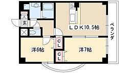 グランドガーデン藤ヶ丘EX 9階2LDKの間取り