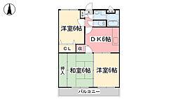 ユーミー乃万Ⅱ[3階]の間取り