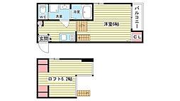 大阪府池田市空港1丁目の賃貸アパートの間取り